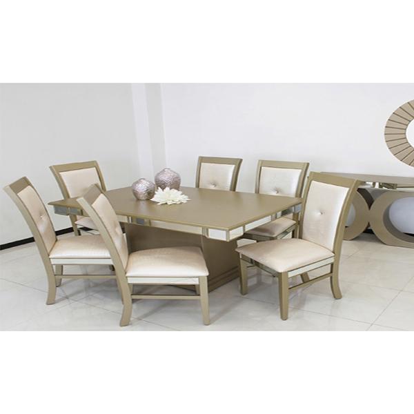 Comedores y antecomedores montiel oro 6 sillas for Comedores y antecomedores